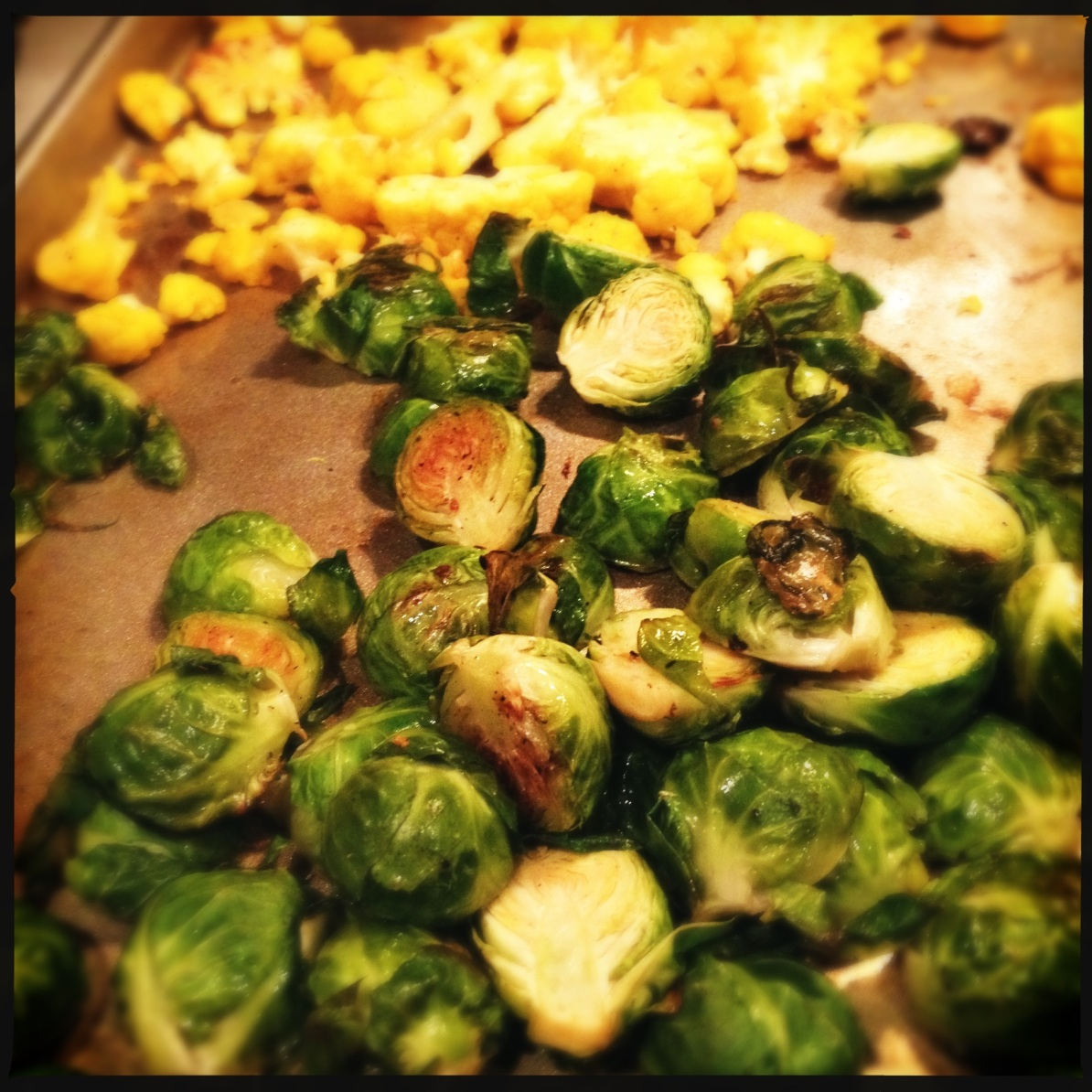 roasted brussel sprouts & cheddar cauliflower