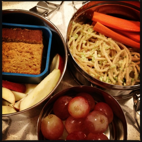 tiffin lunch - broccoli cream pesto, carrots, pumpkin bread, apples, grapes