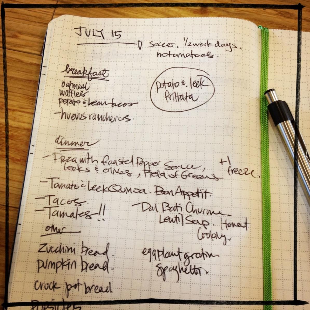 veggie meal plan | aneelee.wordpress.com