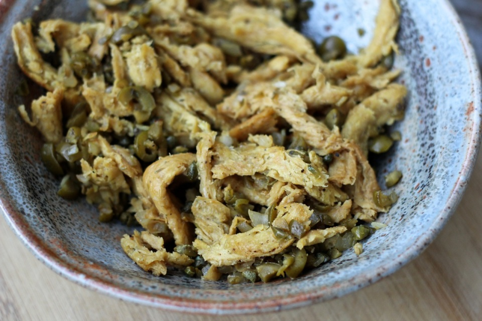 olive and caper soy curls | aneelee.wordpress.com
